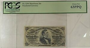 1294 FR Third Issue 25 Cent Fractional Currency PMG Choice New 63 PPQ