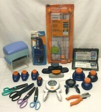 HUGE LOT of Fiskars Punches, Paper Trimmer, Dye Ink Pad, Stamps, Scissors + MORE