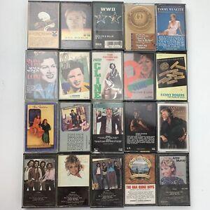 20 Cassette Tape Lot Country & Western Pop Kenny Rogers Oak Ridge Boys Cline