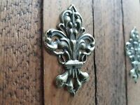 8 x Antique bronzed fleur de lys embellishments cabinet box drawer filigree C112