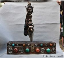 Iron Meteorites Silver Red Coral Turquoise Beeswax Dorje Vajra Phurpa Dagger Box