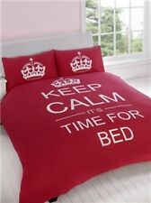 KEEP CALM IT'S TIME FOR BED RED SINGLE QUILT DOONA COVER SET NEW