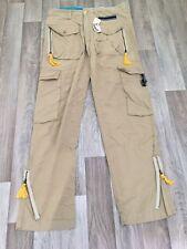 New Mens TEMSSI Cotton Casual Cargo Combat Regular Fit Jeans Beige Size W32 L34