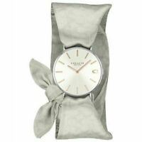 New Coach Perry Quartz Silver Dial Grey Satin Strap Women's Watch 14503179