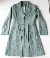 Katherine Teal Green Tweed Trench Coat Size 10 Wool Blend Button Up Winter