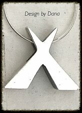 X  Shape-Unisex-Sterling Silver-950-Pendent-Necklace-Great Gift-Hand-Artisan