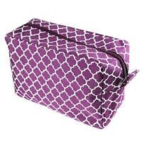 Quatrefoil Cosmetic Tote Make-up Spa Bag Microfiber Travel Case- Purple