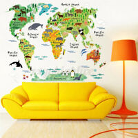 Animal World Map Kids Wall Sticker Poster Removable Nursery Baby Room Home