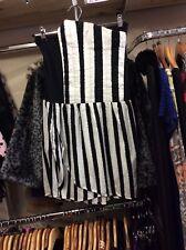 Alice in wonderland style striped black&white boob tube dress motel medium punk