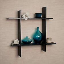 Asymmetric Black Laminate Square Floating Wall Shelf FF6014B