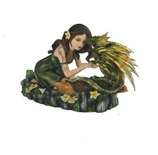 6.25 Inch Wide Kneeling Fairy and Dragon Mythical Figurine Statue Figure