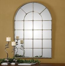 """LARGE 44"""" HAND FORGED METAL ARCHED WINDOW STYLE WALL MIRROR OXIDIZED SILVER"""