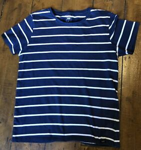 LEE COOPER Men's Navy Blue Striped Design T SHIRT Cotton Short Sleeves Size L.