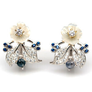 NATURAL WHITE MOTHER OF PEARL, SAPPHIRE & CZ 925 STERLING SILVER EARRINGS