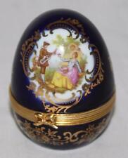 """Limoges France Cobalt Blue & Gold 2 1/2"""" Egg Shape Lovers - Clock"""