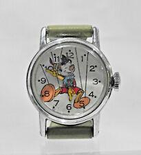 1958 Us Time Pinocchio Wristwatch - Original Band Walt Disney Productions Works!
