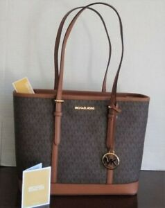 NWT MICHAEL KORS JET SET TRAVEL SMALL ZIP SHOULDER TOTE BAG MK BROWN SIGNATURE