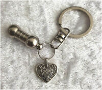 Cremation Jewellery Ashes Urn Keyring w Filigree Heart Funeral Keepsake Memorial