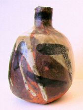 Vintage Stoneware Vase Handmade Mid Century Modern Abstract Unique Unsigned