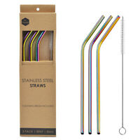 Reusable Stainless Steel Metal Straws Set Ultra Long 10.5 Inch Wide 8mm w/ Brush