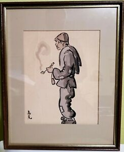Original Meiji Period Japanese Beggar Man pen and ink sketch framed