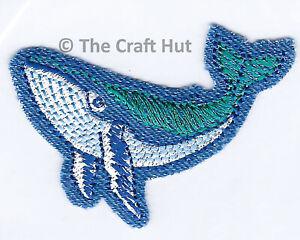 Iron On Craft Motif Patch Craft S&W Blue Whale Sealife 6.5cm x 5cm M017 New