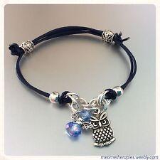Navy Blue Leather Third Eye Chakra Bracelet - Silver Owl Charm & Crystal Angel