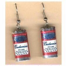 Funky Mini BUDWEISER BEER CANS EARRINGS Sports Bar Drink Brewery Party Jewelry