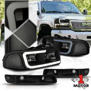 Black/Smoke [LED LIGHT BAR DRL] Headlight+Bumper for 99-07 Sierra/Yukon Classic