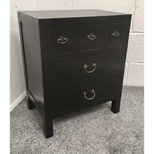 Black Oriental Chinese 5 Drawer Bedside Cabinet Table Chest of Drawers