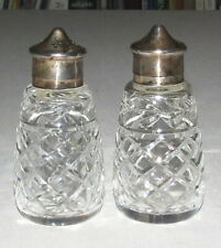 Crystal Salt & Pepper with EPNS Silver-plated tops - 4 inches tall