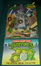 VINTAGE TEENAGE MUTANT HERO TURTLES OFFICIAL MEDAL COLLECTION & WALL CHART NINJA