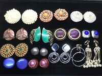 Vtg Estate 14 Clip On Earring Lot Berebi Ellen Copper Gold Silver Pearl Enamel