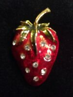 Vintage Strawberry Fruit Food Brooch Pin Enamel & Rhinestones Jewelry