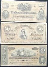 Vntg Faux Reproduction Confederate States of America Currency Bills 100, 50 & 20