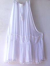 NEW~Long White Crochet Lace Peticoat Peasant Boho Dress-Skirt~8/10/M/Medium