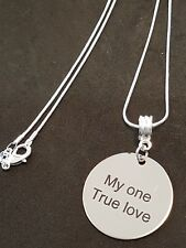 Stirling Silver Chain With Round stainless steel Engraved Pendant