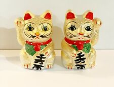 A Pair of Ceramic 3 inch Tall Fengshui Money Coin Good Lucky Cat Painted in Gold