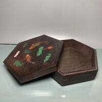 Noble old Boxwood Inlay Conch fish Art Usable Precious big hexagonal Jewelry Box