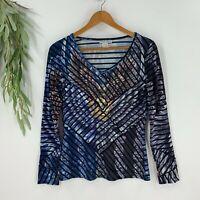 Alberto Makali Womens V-Neck Long Sleeve T-Shirt Top Size M Blue Sequins Eagle