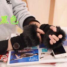 Women Faux Plush Fur Gloves Knitted Fingerless Mitten Hand Wrist Warmer Winter