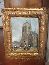 Tableau ancien huile sur panneau vue bretonne église marché Locronan Bretagne