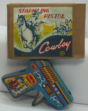 Sparkling Pistol Gun Cowboy Japan Vintage Tin Toy MH Logo with Box - LF663