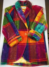 Vtg. 1980's DonnyBrook Rainbow Plaid Oversized Blanket Coat Sz. Large.Ships Free