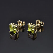 HUCHE Retro Square Peridot Gemstone 24K Gold Filled Lady Wedding Party Earrings