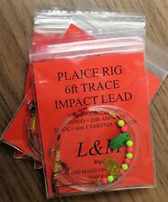 4 x PLAICE IMPACT LEAD SEA FISHING RIGS 80lb BODY size 1 STINGER HOOK 6FT TRACE