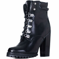 Womens Lace Up Block Heel Ankle Boots Shoes Sz 3-8