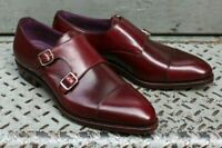 New Handmade Men's Burgundy Leather Double Monk Strap Shoes