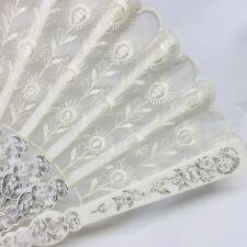 Japanese Hand Folding Fan Sensu White peacock pattern fabric