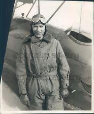 1928 Pilot Captain Joseph Donnellan in Aviation Gear Beside Plane Press Photo